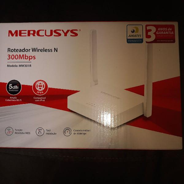 Roteador mercusys mw301r(br) 1.0 wireless n 300mbps 2
