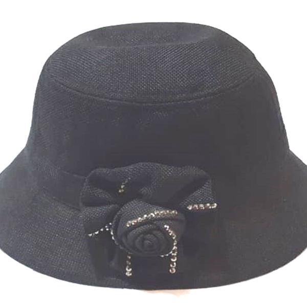 Chapéu clochê anos 20 preto arranjo de flor com strass -
