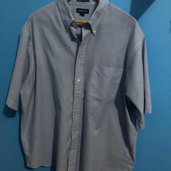 Camisa social manga curta - azul claro - lands' end - tam 18