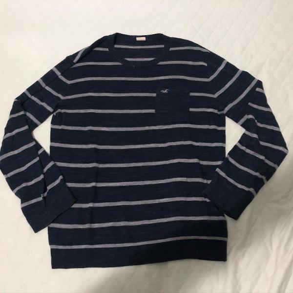 Sweater blusa hollister de lã azul marinho - tamanho m