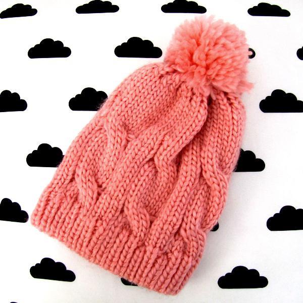 Touca pompom lã rosa