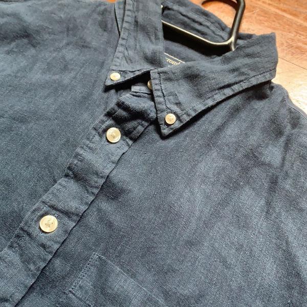 Camisa 100% linho abercrombie azul marinho