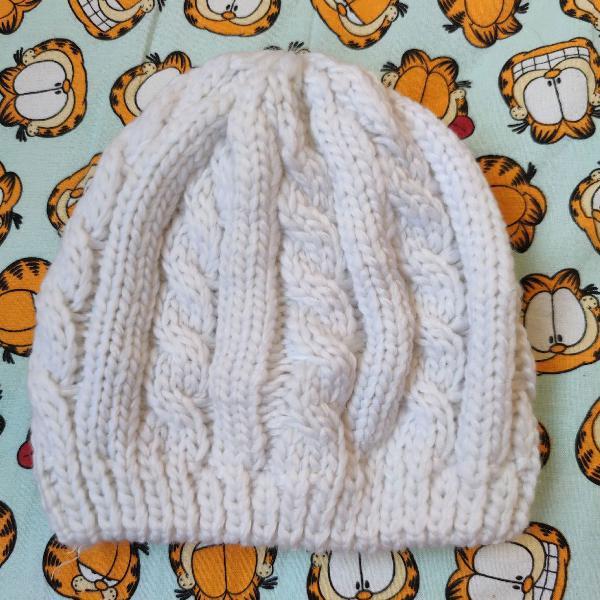 Gorro feminino branco touca branca simples frio inverno