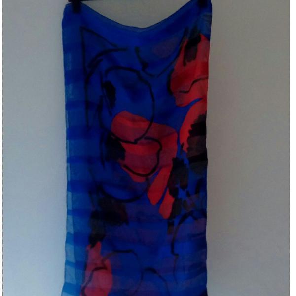 lenço flor azul e vermelho