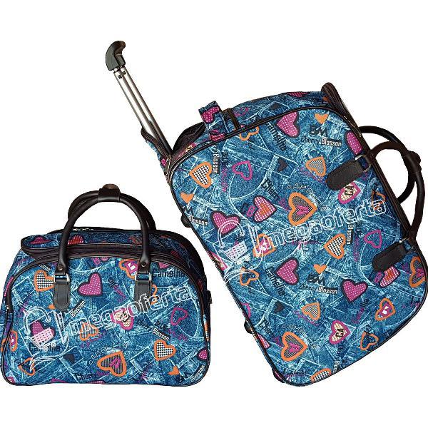 Kit bolsa mala de viagem com rodinhas - (nova)