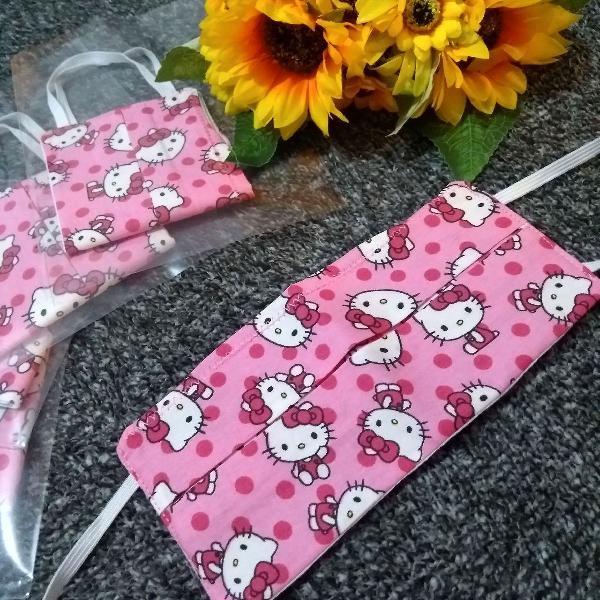 Kit 5 máscaras proteção hello kitty rosa