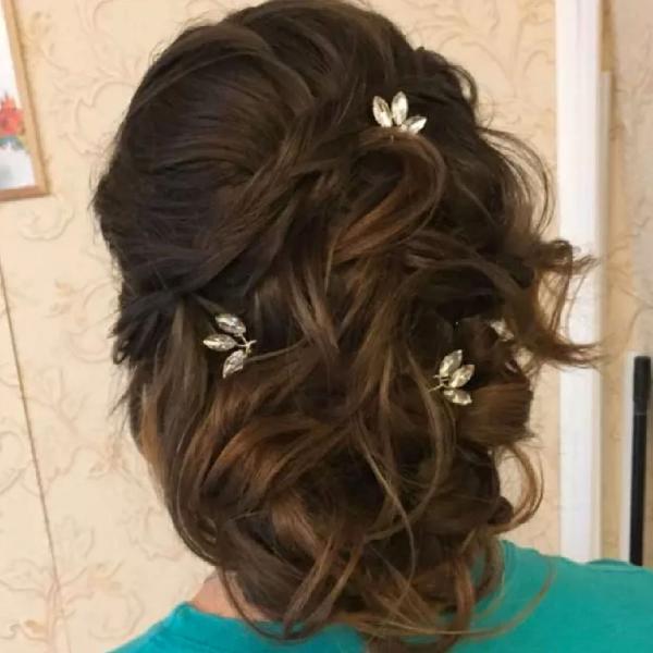 Trio de grampos enfeite de cabelo para noivas, debutantes ou