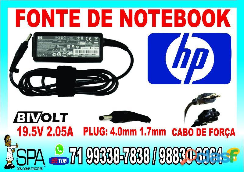Carregador notebook hp mini 19.5v 2.05a 40w plug preto em salvador ba