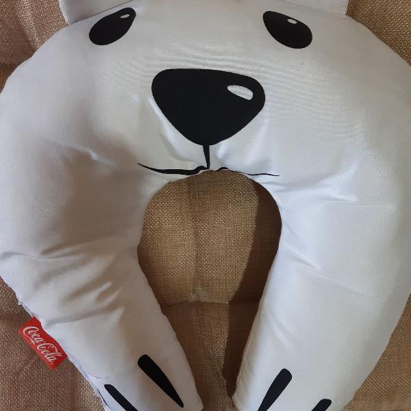 Travesseiro encosto cabeça urso coca cola