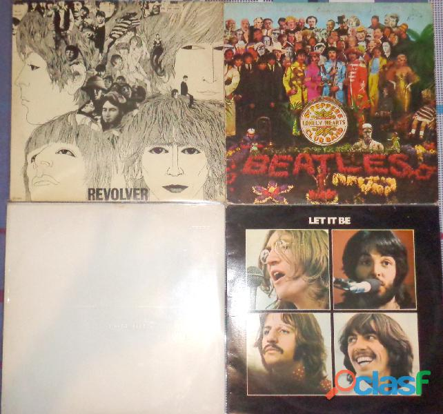 4 lps beatles  revolver, sgt peppers, white e let it be
