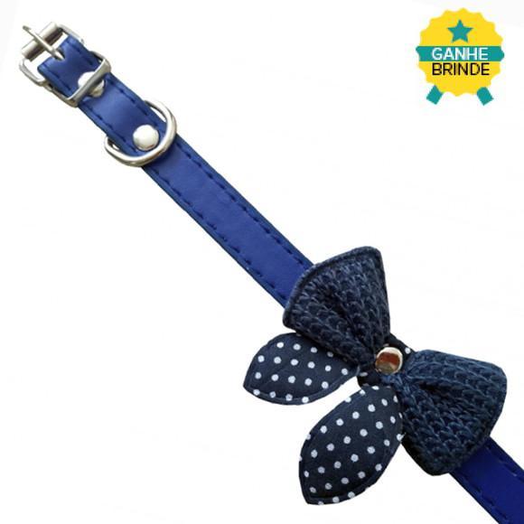 Coleira pet laço azul