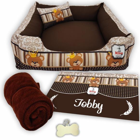 Kit 5 pçs personalizado cama pet 70x70 - ursinho príncipe