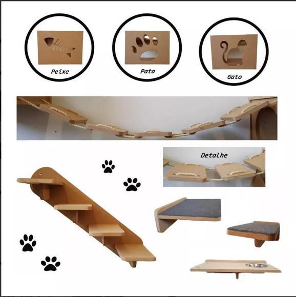 Kit 8pçs nichos prateleira step comedouro escada ponte gato
