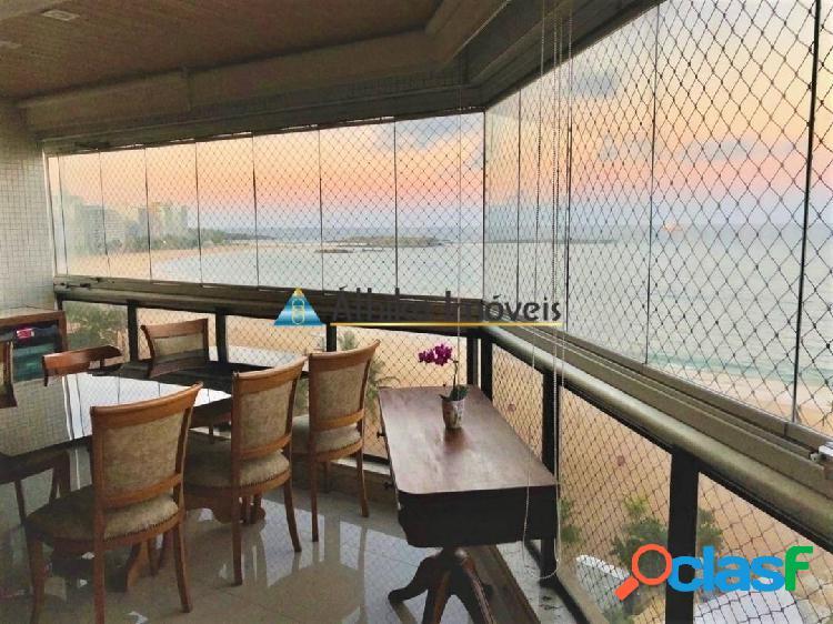Apartamento frente mar na praia da costa de 3 quartos 1 suíte com 180 m²