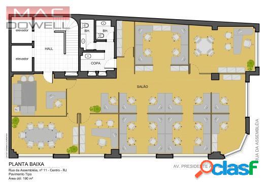 Locação - sala comercial de 190 m² - centro/rj