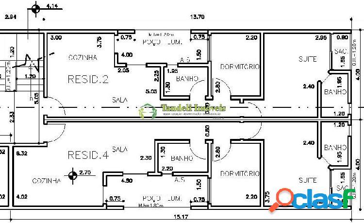 Apartamento sem condomínio 2 dormitórios 52m² (vila cecilia maria)