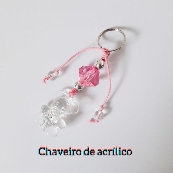 Chaveiro ursinho rosa kawaii