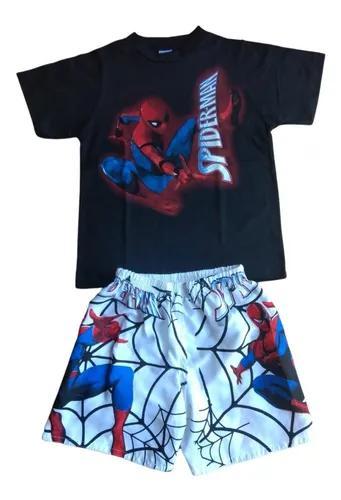 Conjunto infantil kit com 4 pç roupa heróis criança