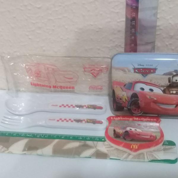 Disney -carros-1 garfo e 1 colher num estojo plástico, + 1