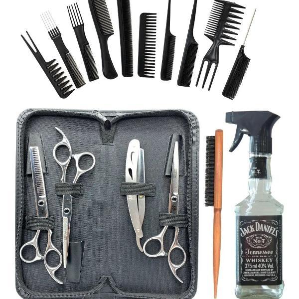 Kit barbeiro profissional, 3 tesouras c/ estojo + borrifador
