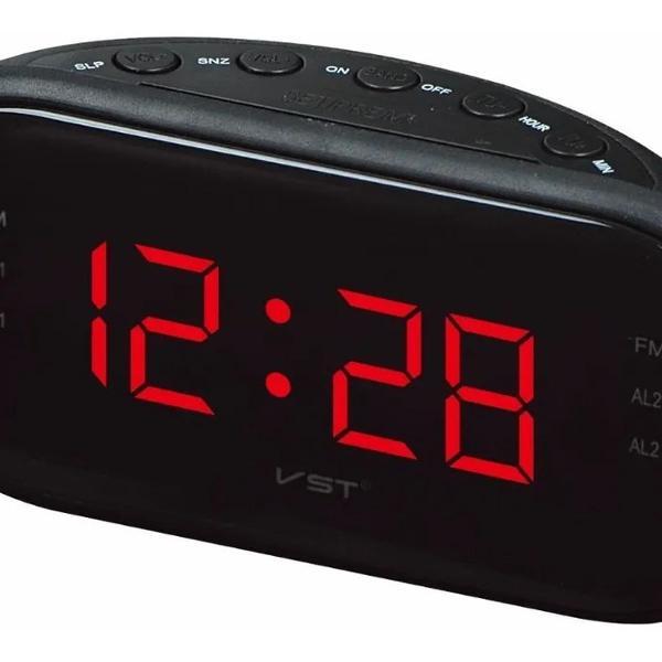 Radio relógio de cabeceira fm e despertador alto 110/220 v
