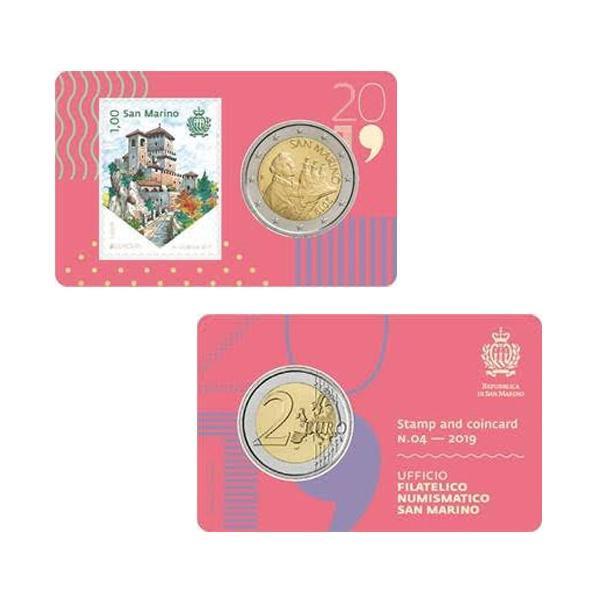 San marino 2019 - blister moeda 2 euros - selo 1 euro - fc