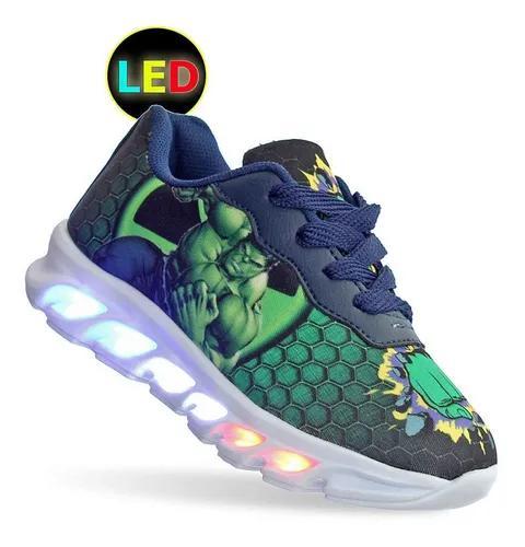 Tenis com luz de led infantil masculino incrivel hulk