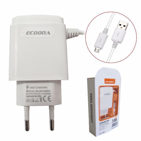 Carregador celular carga rapida com 2 entrada usb v8