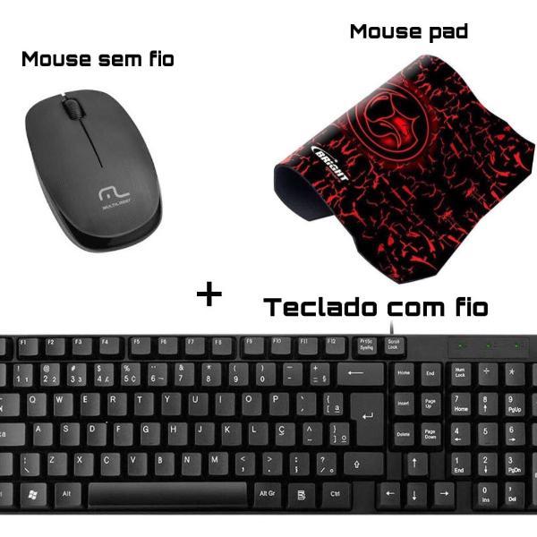 Kit - teclado, mouse sem fio e mouse pad