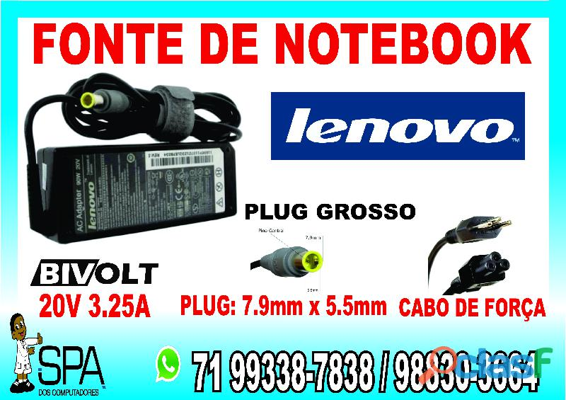 Carregador notebook lenovo 92p1159 20v 3.25a 65w plug cinza grosso 7.9mm x 5.5mm em salvador   ba