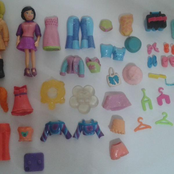 2 Bonecas Originais Polly Pocket Mattel + 49 Acessórios