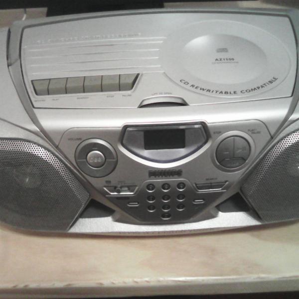 Som portátil philips com cd player rádio fm fita k7 -