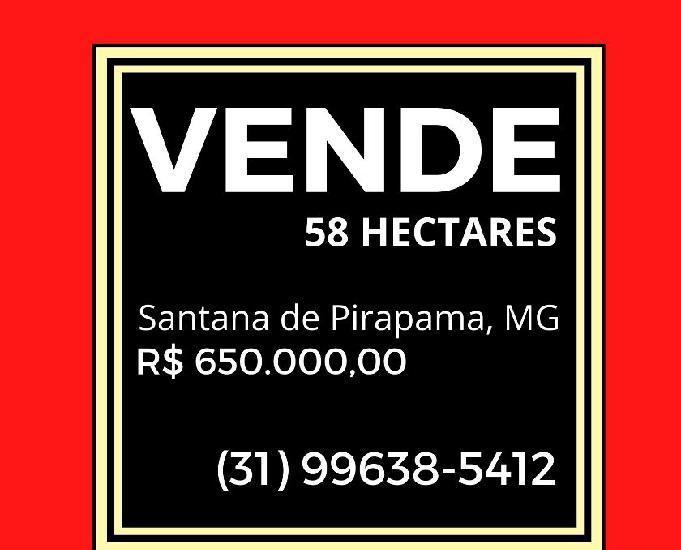 Vende 58 hectares, santana de pirapama, mg