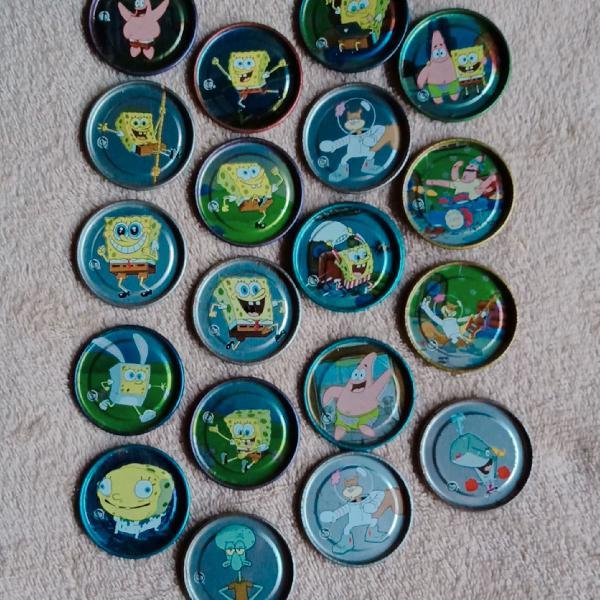 Coleção tazos bob esponja e yu-gi-oh