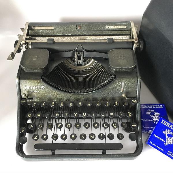 Funcionando- máquina de escrever datilografia hermes 2000