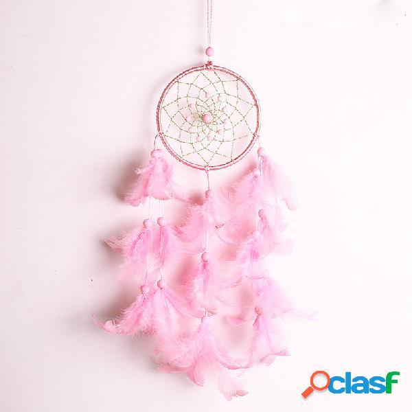 Rosa handmade dream catcher home decor dream catchers pendurado na parede rosa decorações de penas de presente