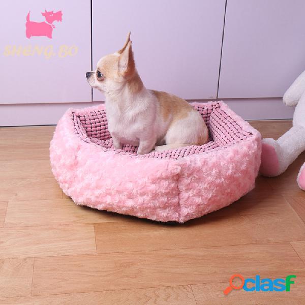 Rosa rosa veludo pet dormir cama kennel dog cat inverno cama com almofada mat