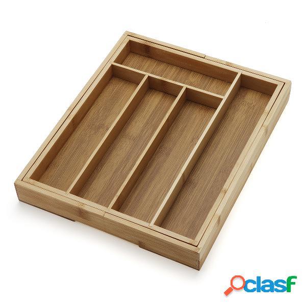 Caixa de armazenamento expansível do utensílio do utensílio da bandeja da cutelaria da cozinha do organizador da gaveta de bambu