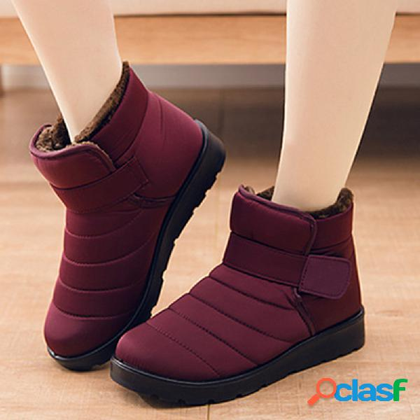 Impermeável leve e confortável pele quente forro tornozelo botas de neve