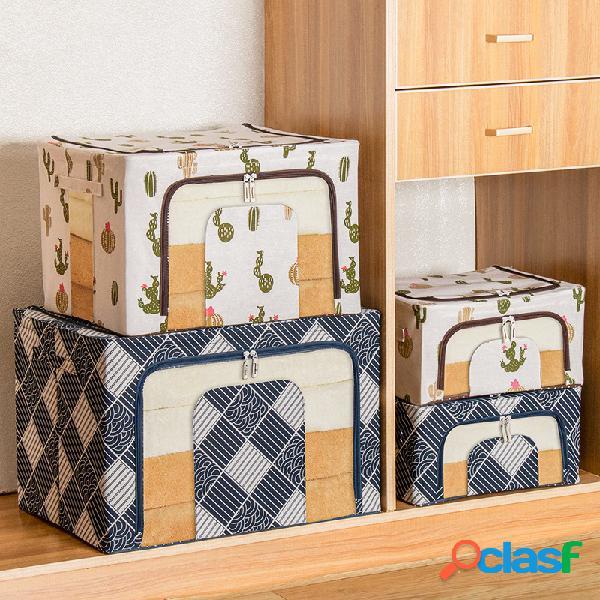 Algodão e linho armazenamento caixa tecido insípido estrutura em aço múltiplo acabamento caixa dobrável extra grande caixa armazenamento caixa armazenamento caixa