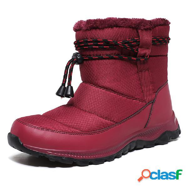 Forro de pele quente feminina resistente ao deslizamento soft sola botas de neve de inverno