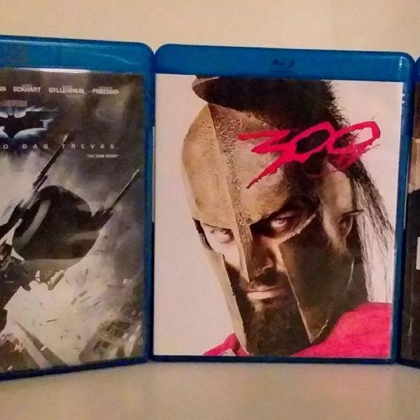 Blu ray disc 03 filmes batman o cavaleiro das trevas/ 300/