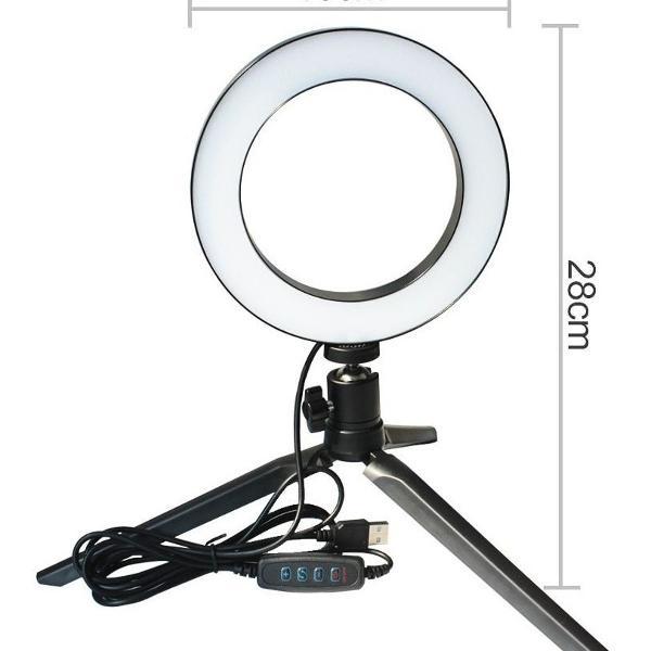 Ring light mini de led (quente e frio) usb com tripé