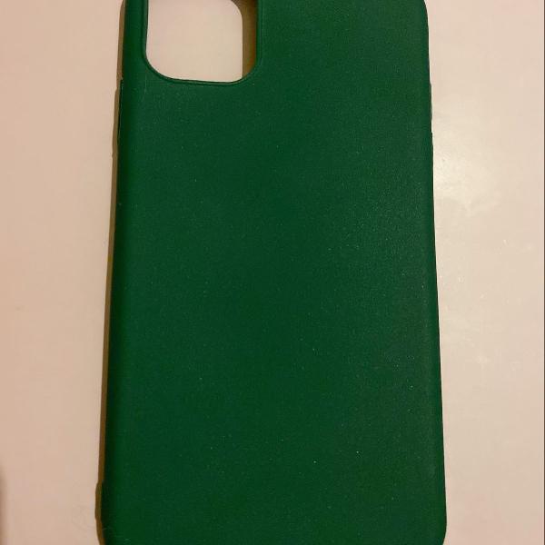 Case capa iphone 11 verde escuro silicone
