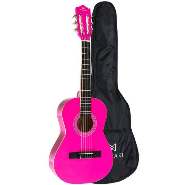 Violão clássico infantil michael antares vm14e pk pink com