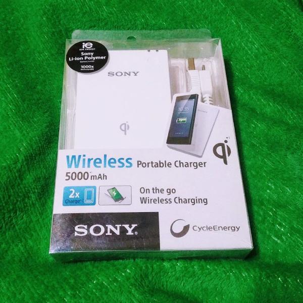 Carregador sony portátil wireless 5000 mah / novo / modelo