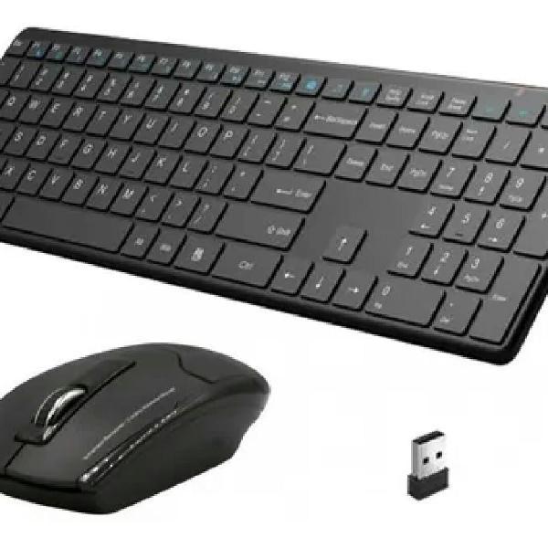 Kit teclado e mouse sem fio ultra slim preto xtrad