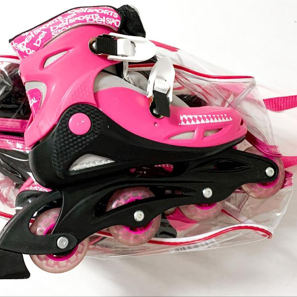 Kit completo patins rosa