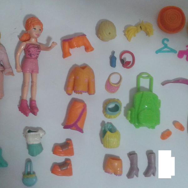 2 Bonecas Originais Polly Pocket Mattel + 45 Acessórios
