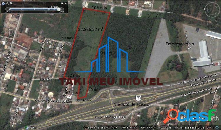 Terreno frente br-101 com 33 mil m² em palhoça sc por 3.750.000